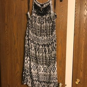 Halter knit dress with beaded yoke detail
